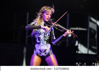 Clarkston, MI / USA - July 9, 2018: Lindsey Stirling, on tour with Evanescence, performs at DTE Energy Music Theatre.