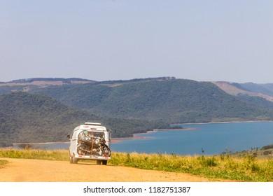 Ribeirão Claro - Paraná - Brazil 09/08/18 - Wolkswagen Kombi on the Road - Indian stone ramp.