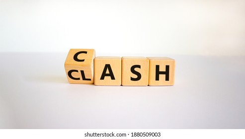 Clash for cash symbol. Turned a cube and changed the word 'clash' to 'cash'. Business and clash for cash concept. Beautiful white background, copy space.