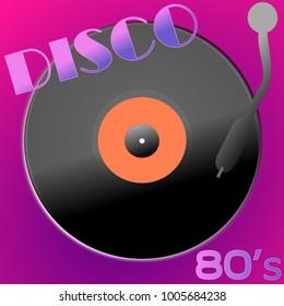Clasic vinyl disc 80s disco music on violet background. Vintage illustration design.