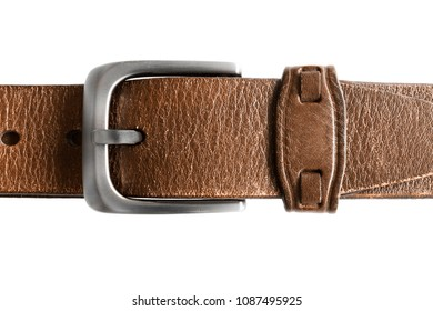 Clasped brown leather belt isolated over white