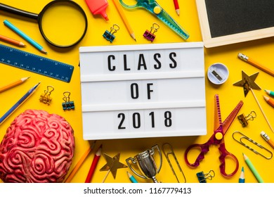 Class of 2018 lightbox message on a bright yellow background