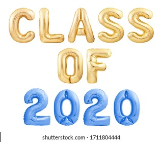 Class of 2020 message made of golden alphabet balloons isolated on white background. Congratulations graduates!