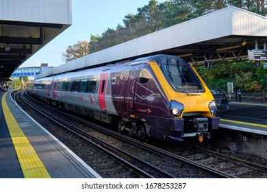 Class 221 super voyageur Cross Country train at platform.  Brockenhurst, UK. November 11, 2019