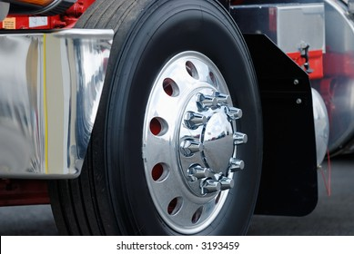 Class eight semi truck wheel.