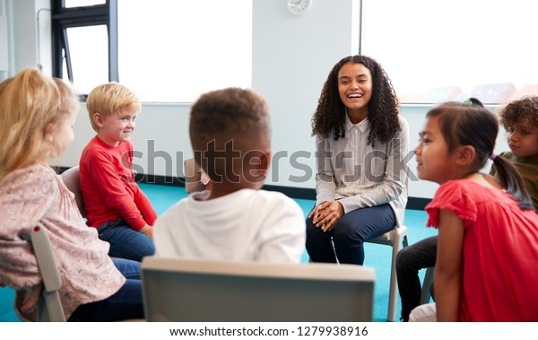 A class of infant school children sitting on chairs in a circle in the classroom talking to their female teacher