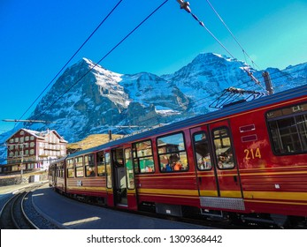 Class red train that leads up to Jungfraujoch.