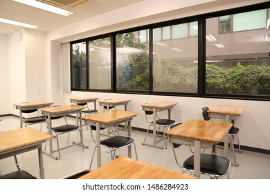 The class in school  desk and chair