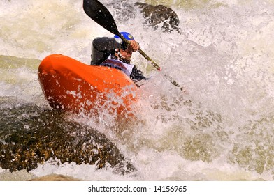 Class V whitewater kayak competitor on the Pine Creek section of the Arkansas River