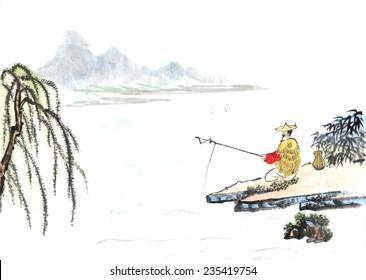 classial China--oldman fishing, zen