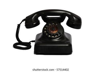 Classic 1970 - 1980 retro dial style black house telephone