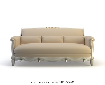 classic 3d sofa on the white background