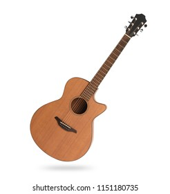 classic acoustic guitar isolated on white background with clipping path
