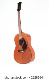 Classic Acoustic guitar isolated over white background