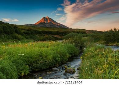 Classic active stratovolcano Vilyuchinsky. Eurasia, Kamchatka Region