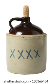 Classic alcohol bottle with corn husk top on white