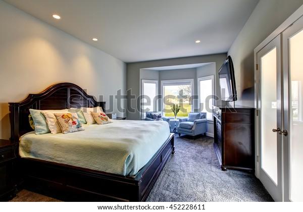 Classic American Bedroom Green Walls Black Stock Image ...
