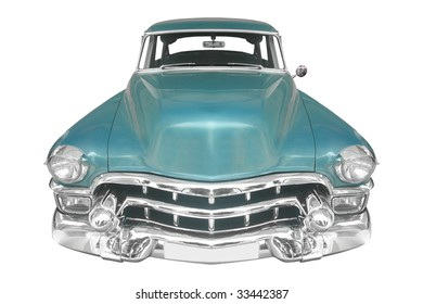 classic American car from the 40s isolated on white background