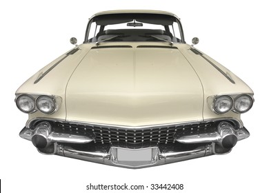 classic American car from the 50s isolated on white background