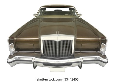 classic American car from the 70s isolated on white background