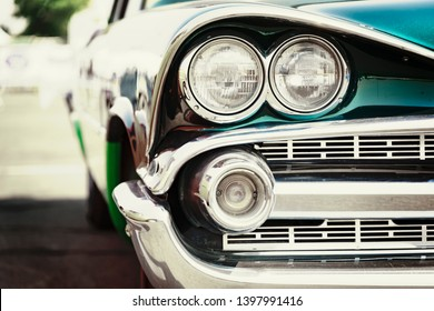 Classic american car headlights close-up
