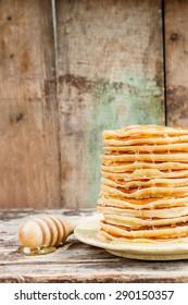 classic American pancake on rustic table