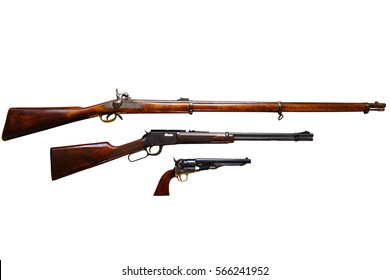 Classic American weapons on white background: Civil war rifle, Wild West rifle and revolver