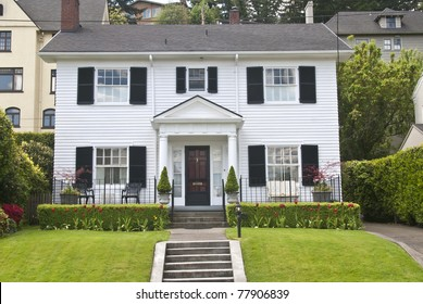 Classic American wooden clapboard house