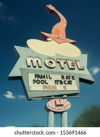 Classic Americana Route 66 style south west USA road motel road sign