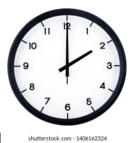 Classic analog clock pointing at 2 o'clock, isolated on white background