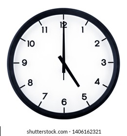Classic analog clock pointing at 5 o'clock, isolated on white background
