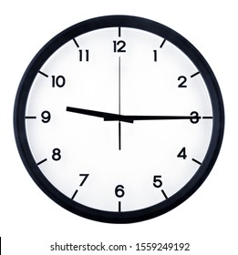 Classic analog clock pointing at nine fifteen o'clock, isolated on white background