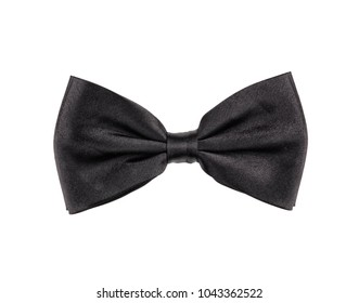 Classic anthracite bow tie, isolated on white background.