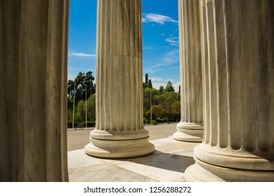 classic antique column pillars architecture from side of palace building