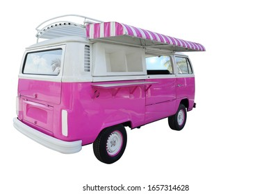 Classic antique van modified into a shop decorated with white, pink, beautiful, isolated on white background. This has clipping path.