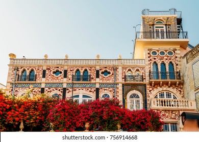 Classic Apartment Building Block Exterior Facade In Lisbon, Portugal