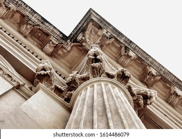 Classic architectural column details of a historical building.