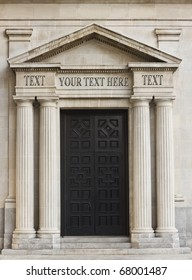 Classic architecture representative of financial institution with replaceable text on layers.