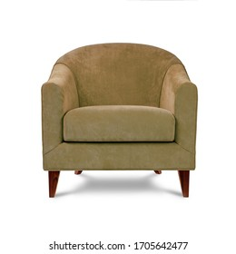 Classic armchair art deco style in beige velvet with wooden legs isolated on white background. Front view, grey shadow. Series of furniture
