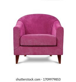 Classic armchair art deco style in pink velvet with wooden legs isolated on white background. Front view, grey shadow. Series of furniture