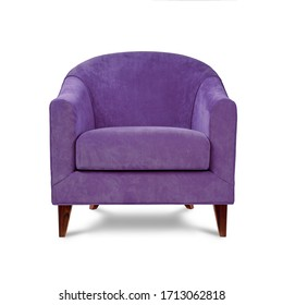 Classic armchair art deco style in purple velvet with wooden legs isolated on white background. Front view, grey shadow. Series of furniture