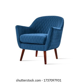 Classic armchair art deco style in blue velvet with wooden legs isolated on white background. Front view, grey shadow. Series of furniture