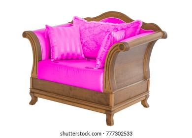 Classic armchair. Modern designer chair on white background. Texture chair.
