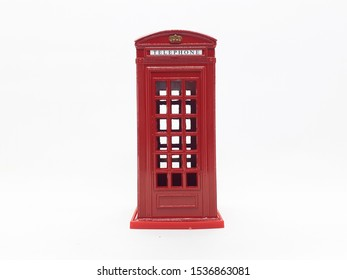 Classic Artistic Luxury Retro Vintage Red Telephone Booth Piggy Bank Model in White Isolated Background