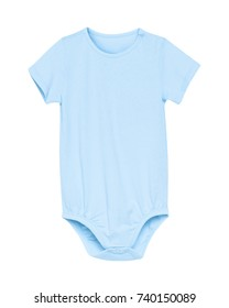 Classic azure light blue short baby rompers with empty space isolated on white