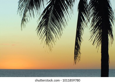 A classic background image of a beautiful sunset on a paradise isle.  Photographed on the island of Eleuthera in the Bahamas.