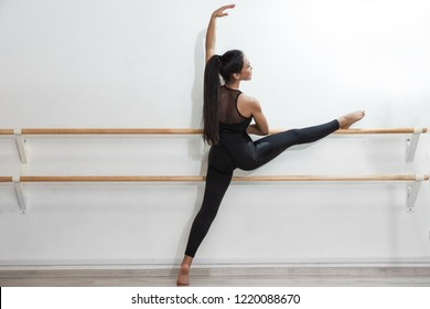 The classic ballet dancer posing at ballet barre on studio background.