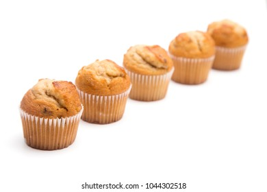 Classic Banana Nut Muffins on a White Background