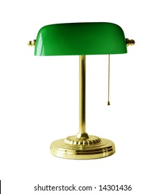 Classic banker desk lamp isolated on white