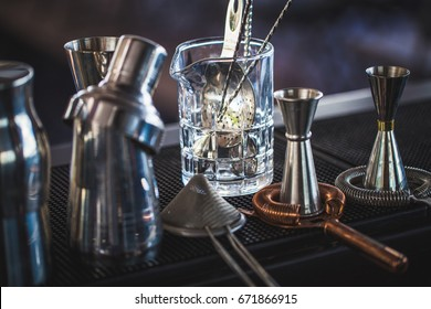Classic bar cocktail shaker, bartender tools, a set of equipmen, Selected focus